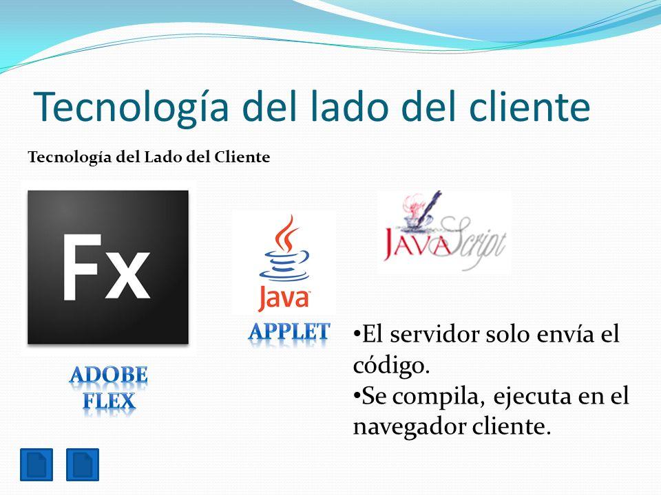 Tecnología del lado del cliente Tecnología del Lado del Cliente El servidor solo envía el código. Se compila, ejecuta en el navegador cliente.