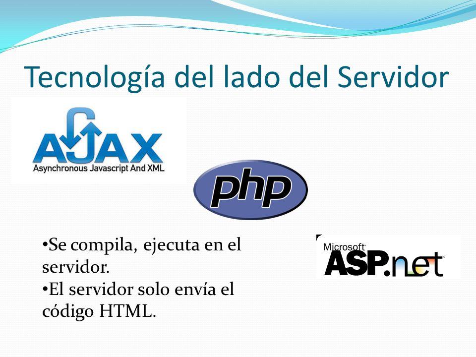 Tecnología del lado del Servidor Se compila, ejecuta en el servidor. El servidor solo envía el código HTML.