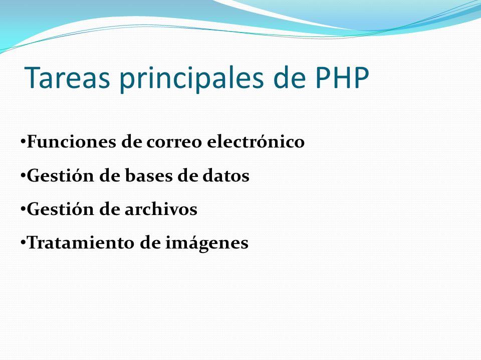 Tareas principales de PHP Funciones de correo electrónico Gestión de bases de datos Gestión de archivos Tratamiento de imágenes