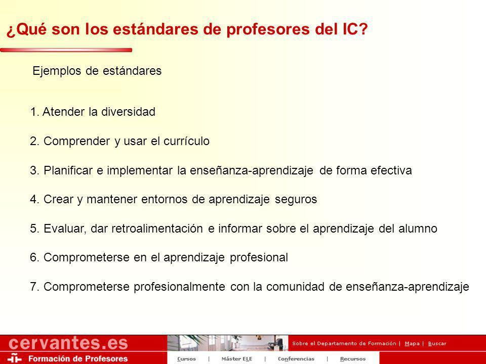 ¿Qué son los estándares de profesores del IC? 1. Atender la diversidad 2. Comprender y usar el currículo 3. Planificar e implementar la enseñanza-apre