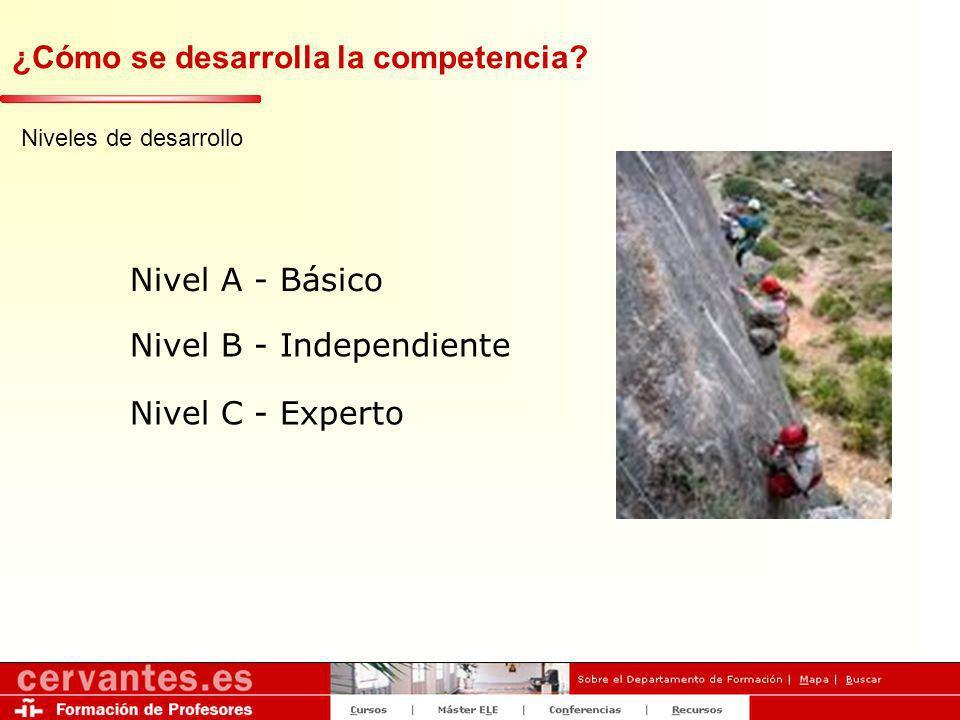 ¿Cómo se desarrolla la competencia? Niveles de desarrollo Nivel A - Básico Nivel B - Independiente Nivel C - Experto