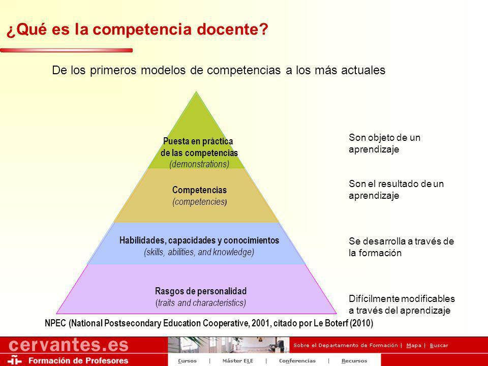 ¿Qué es la competencia docente? De los primeros modelos de competencias a los más actuales Rasgos de personalidad ( traits and characteristics) Habili