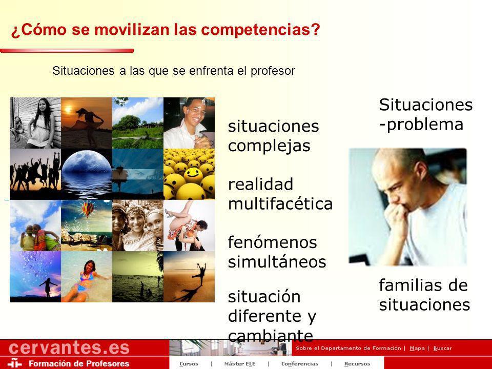 ¿Cómo se movilizan las competencias? Situaciones a las que se enfrenta el profesor situaciones complejas realidad multifacética fenómenos simultáneos