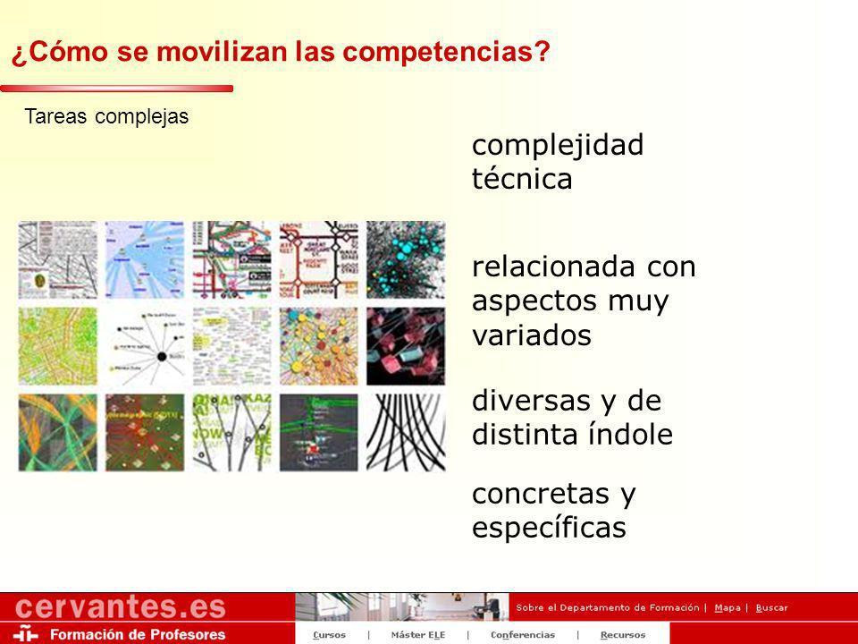 ¿Cómo se movilizan las competencias? Tareas complejas complejidad técnica relacionada con aspectos muy variados diversas y de distinta índole concreta