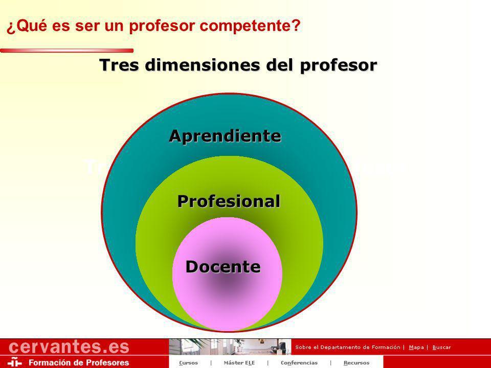 Tres dimensiones del profesor ¿Qué es un profesional de ELE? Aprendiente Profesional Docente ¿Qué es ser un profesor competente?