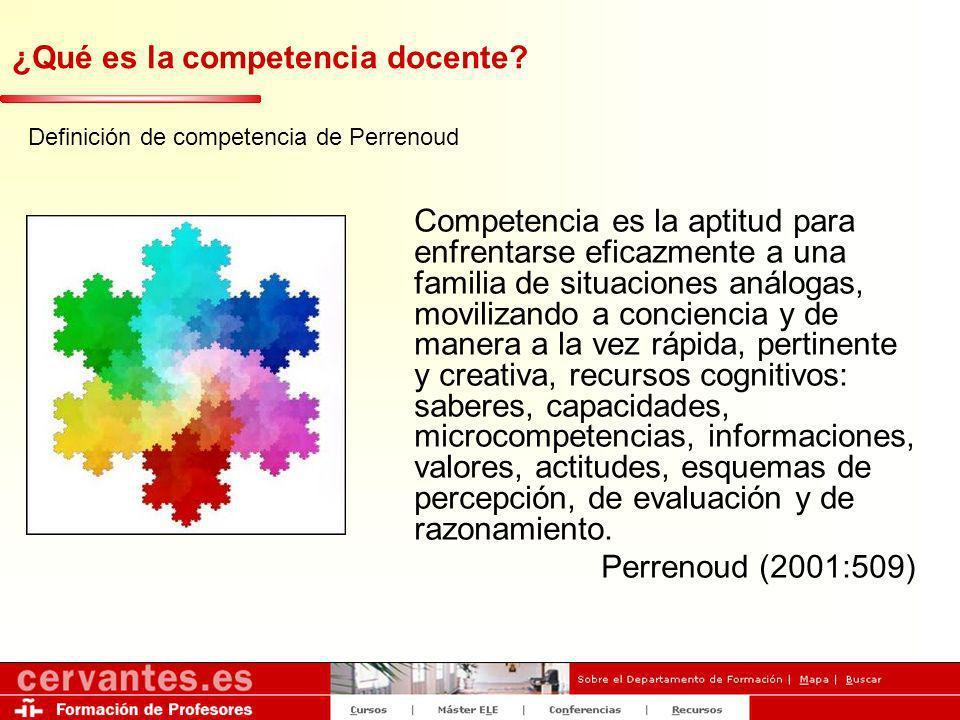 ¿Qué es la competencia docente? Definición de competencia de Perrenoud Competencia es la aptitud para enfrentarse eficazmente a una familia de situaci