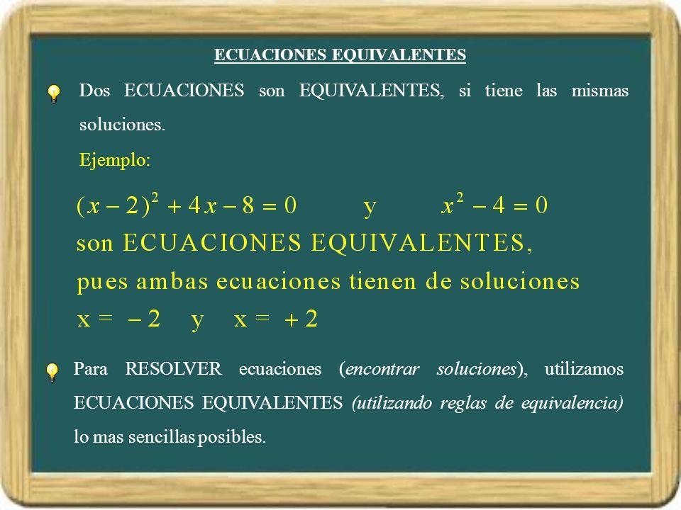 ECUACIONES EQUIVALENTES Para RESOLVER ecuaciones (encontrar soluciones), utilizamos ECUACIONES EQUIVALENTES (utilizando reglas de equivalencia) lo mas