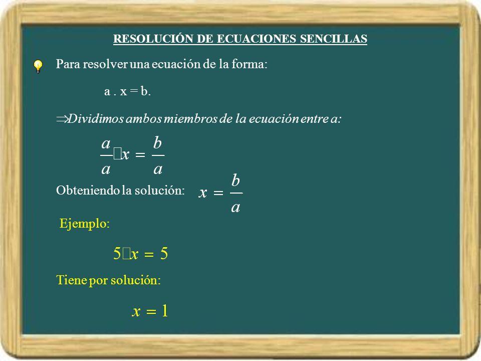 RESOLUCIÓN DE ECUACIONES SENCILLAS Para resolver una ecuación de la forma: a. x = b. Dividimos ambos miembros de la ecuación entre a: Obteniendo la so