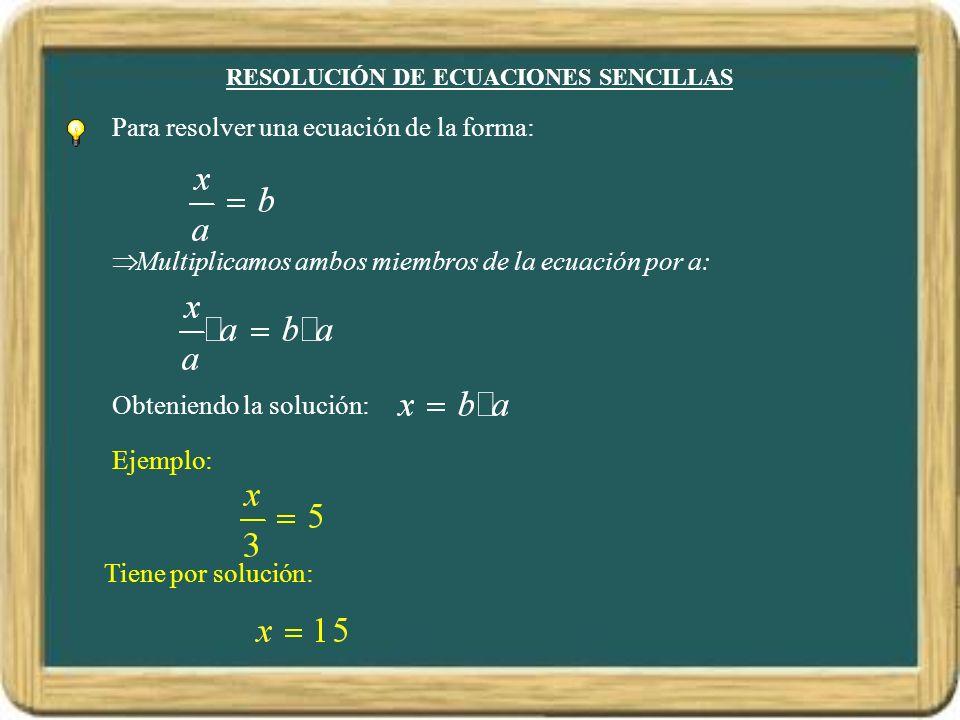 RESOLUCIÓN DE ECUACIONES SENCILLAS Para resolver una ecuación de la forma: Multiplicamos ambos miembros de la ecuación por a: Obteniendo la solución: