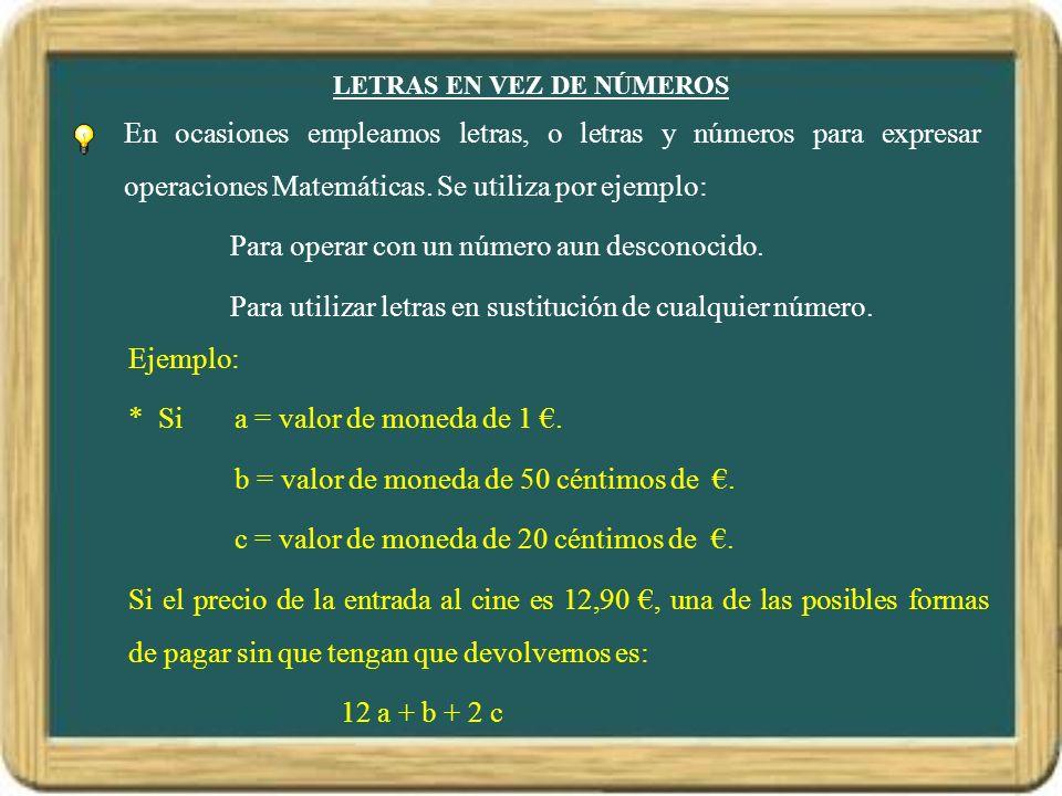 LETRAS EN VEZ DE NÚMEROS En ocasiones empleamos letras, o letras y números para expresar operaciones Matemáticas. Se utiliza por ejemplo: Para operar