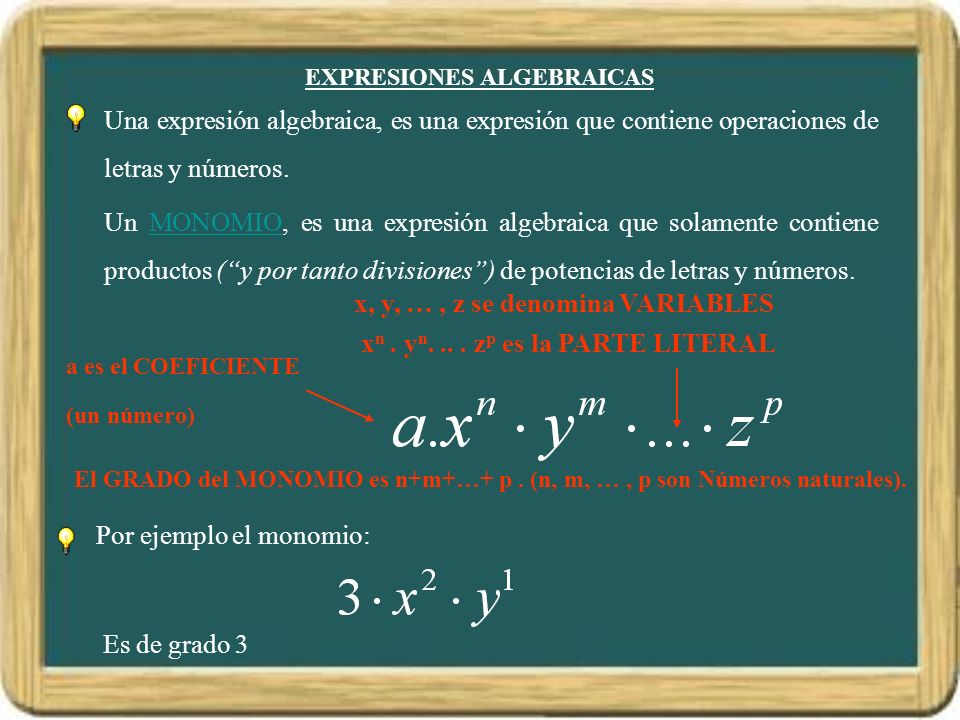 EXPRESIONES ALGEBRAICAS a es el COEFICIENTE (un número) x, y, …, z se denomina VARIABLES x n. y n.... z p es la PARTE LITERAL Por ejemplo el monomio: