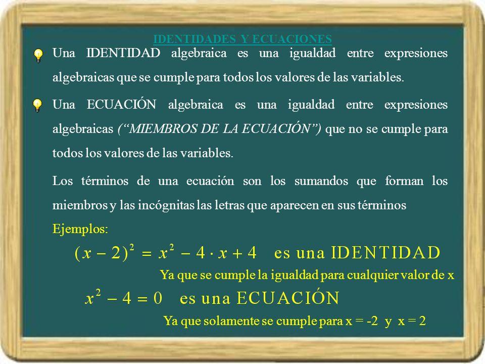 IDENTIDADES Y ECUACIONES Una IDENTIDAD algebraica es una igualdad entre expresiones algebraicas que se cumple para todos los valores de las variables.