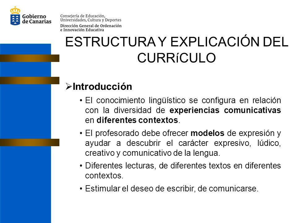 ESTRUCTURA Y EXPLICACIÓN DEL CURRíCULO Introducción El conocimiento lingüístico se configura en relación con la diversidad de experiencias comunicativ