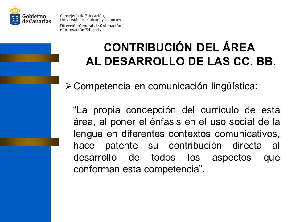 CONTRIBUCIÓN DEL ÁREA AL DESARROLLO DE LAS CC. BB. Competencia en comunicación lingüística: La propia concepción del currículo de esta área, al poner
