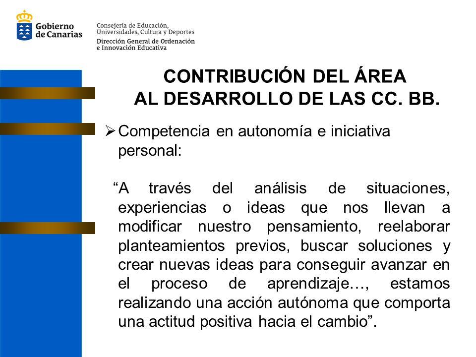CONTRIBUCIÓN DEL ÁREA AL DESARROLLO DE LAS CC. BB. Competencia en autonomía e iniciativa personal: A través del análisis de situaciones, experiencias