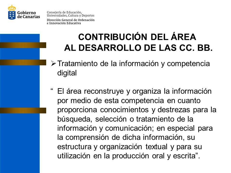 CONTRIBUCIÓN DEL ÁREA AL DESARROLLO DE LAS CC. BB. Tratamiento de la información y competencia digital El área reconstruye y organiza la información p