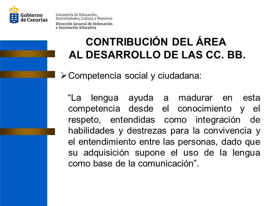 CONTRIBUCIÓN DEL ÁREA AL DESARROLLO DE LAS CC. BB. Competencia social y ciudadana: La lengua ayuda a madurar en esta competencia desde el conocimiento