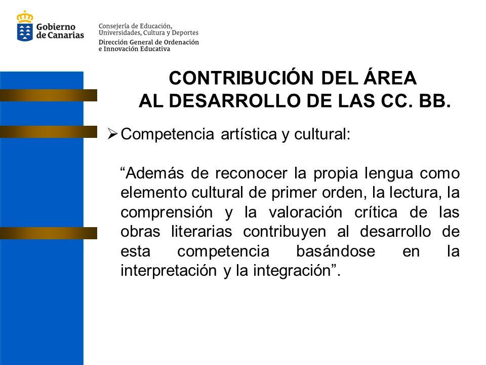 CONTRIBUCIÓN DEL ÁREA AL DESARROLLO DE LAS CC. BB. Competencia artística y cultural: Además de reconocer la propia lengua como elemento cultural de pr