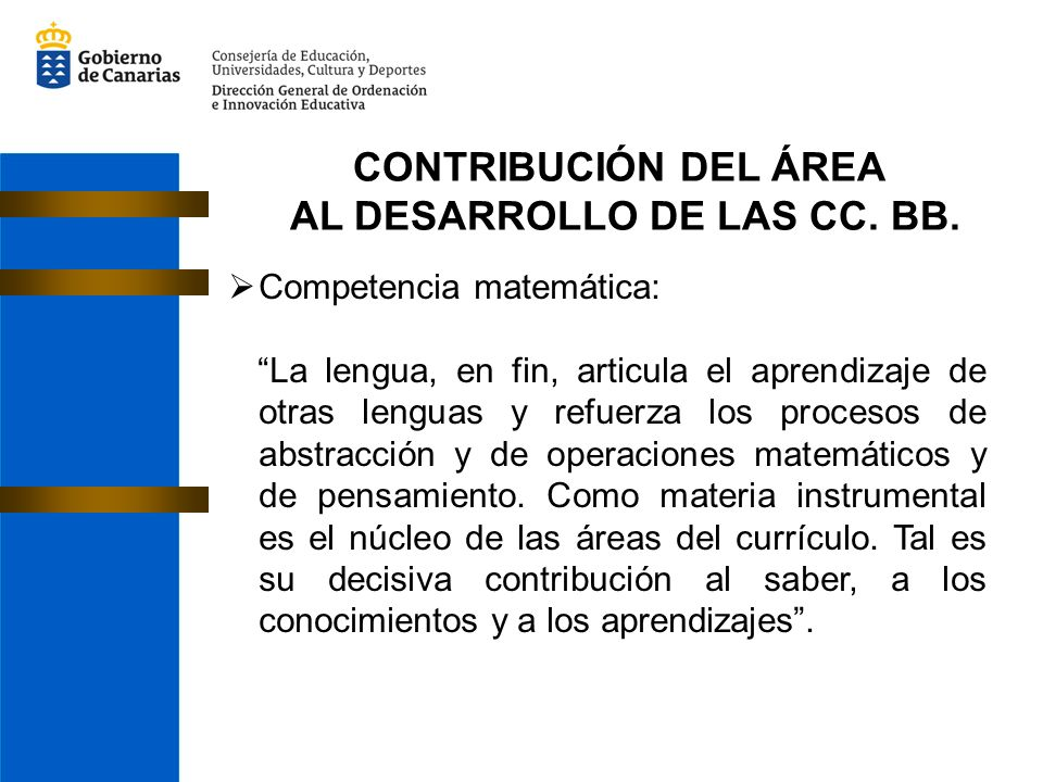 CONTRIBUCIÓN DEL ÁREA AL DESARROLLO DE LAS CC. BB. Competencia matemática: La lengua, en fin, articula el aprendizaje de otras lenguas y refuerza los