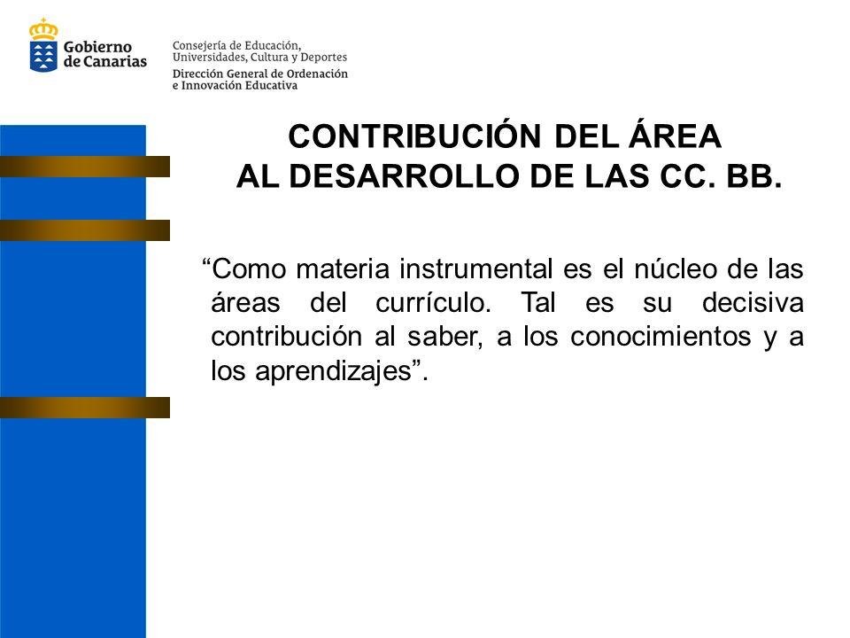 CONTRIBUCIÓN DEL ÁREA AL DESARROLLO DE LAS CC. BB. Como materia instrumental es el núcleo de las áreas del currículo. Tal es su decisiva contribución