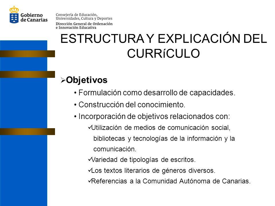 ESTRUCTURA Y EXPLICACIÓN DEL CURRíCULO Objetivos Formulación como desarrollo de capacidades. Construcción del conocimiento. Incorporación de objetivos