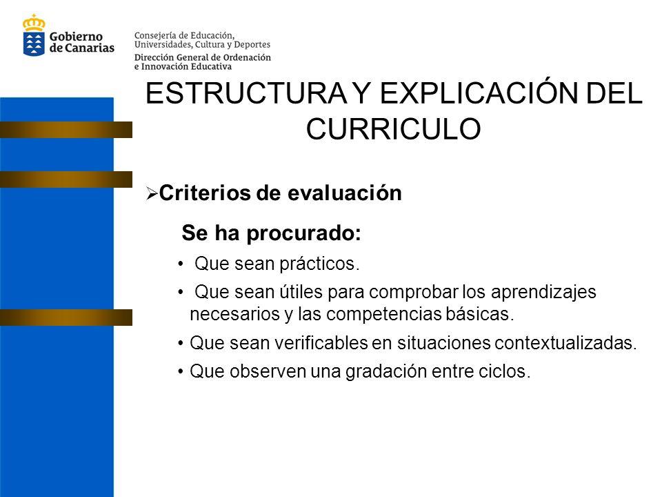 ESTRUCTURA Y EXPLICACIÓN DEL CURRICULO Criterios de evaluación Se ha procurado: Que sean prácticos. Que sean útiles para comprobar los aprendizajes ne