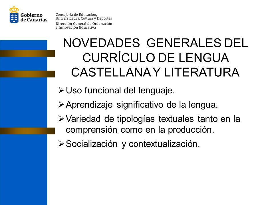 Uso funcional del lenguaje. Aprendizaje significativo de la lengua. Variedad de tipologías textuales tanto en la comprensión como en la producción. So