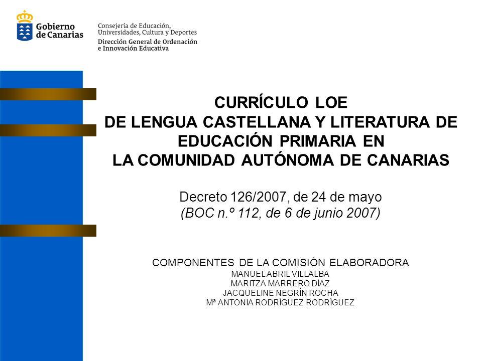 CURRÍCULO LOE DE LENGUA CASTELLANA Y LITERATURA DE EDUCACIÓN PRIMARIA EN LA COMUNIDAD AUTÓNOMA DE CANARIAS Decreto 126/2007, de 24 de mayo (BOC n.º 112, de 6 de junio 2007) COMPONENTES DE LA COMISIÓN ELABORADORA MANUEL ABRIL VILLALBA MARITZA MARRERO DÍAZ JACQUELINE NEGRÍN ROCHA Mª ANTONIA RODRÍGUEZ RODRÍGUEZ