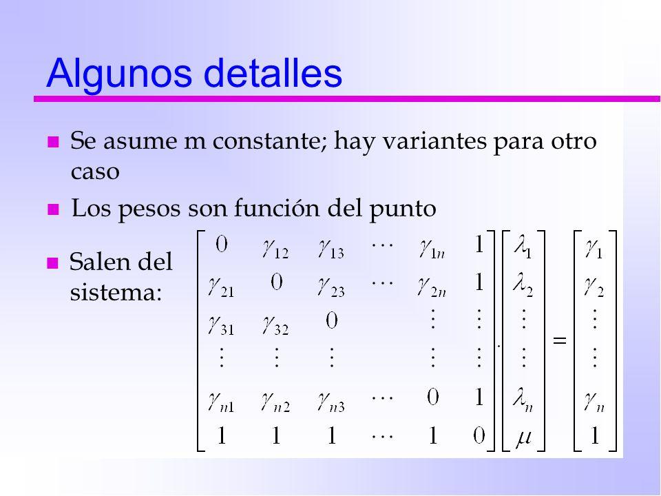 Algunos detalles n Se asume m constante; hay variantes para otro caso n Los pesos son función del punto n Salen del sistema: