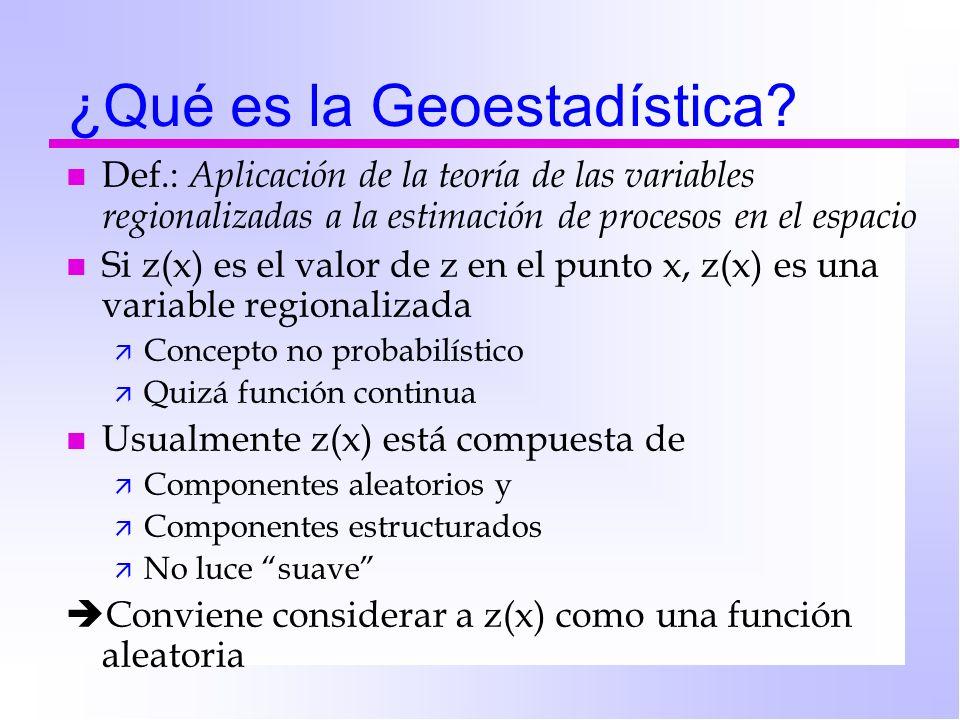 ¿Qué es la Geoestadística? n Def.: Aplicación de la teoría de las variables regionalizadas a la estimación de procesos en el espacio n Si z(x) es el v
