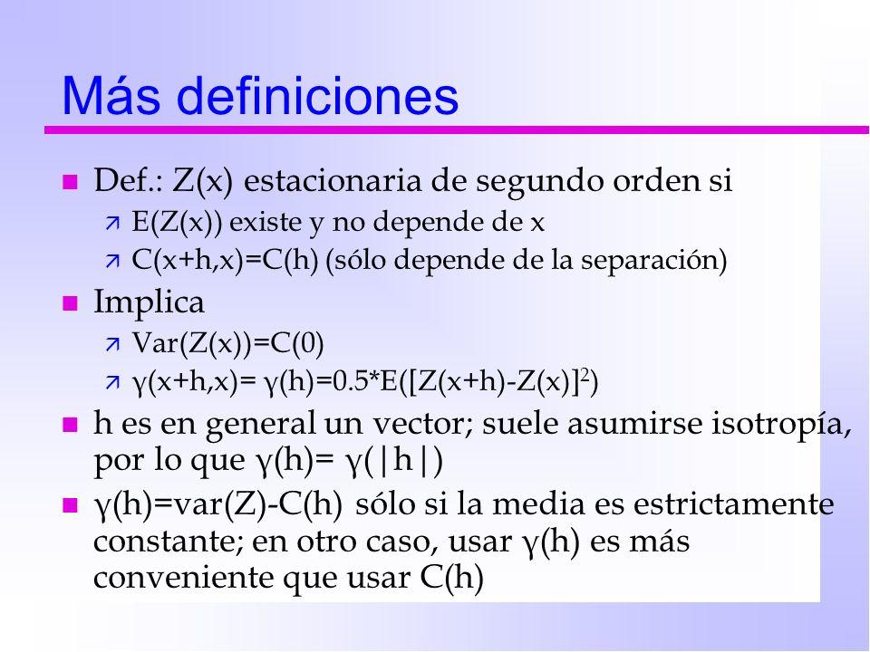 Más definiciones n Def.: Z(x) estacionaria de segundo orden si ä E(Z(x)) existe y no depende de x ä C(x+h,x)=C(h) (sólo depende de la separación) n Im