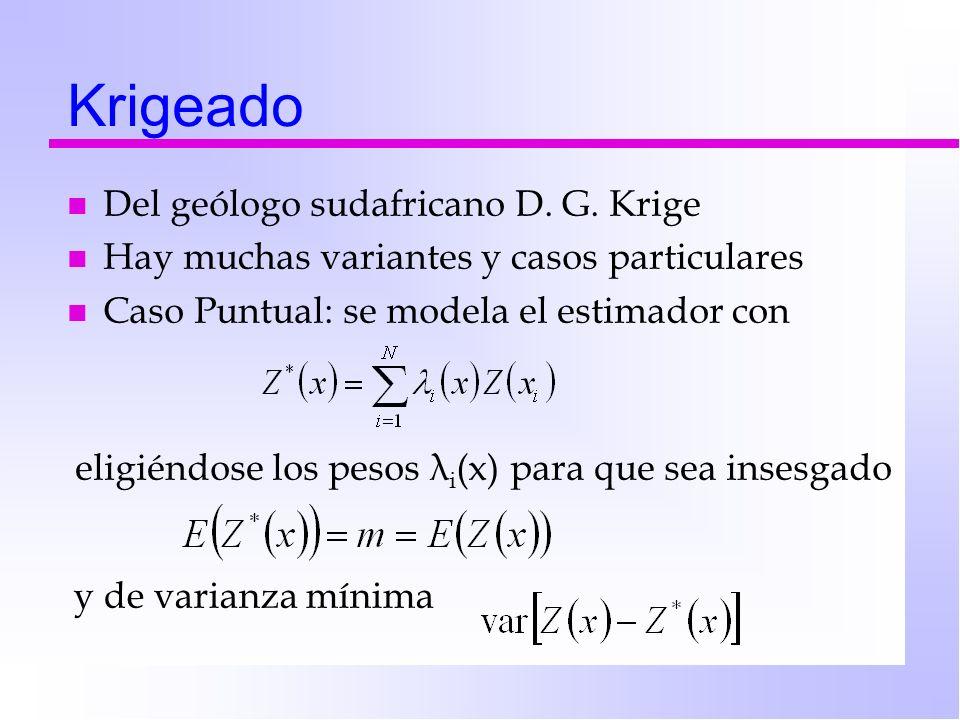 Krigeado n Del geólogo sudafricano D. G. Krige n Hay muchas variantes y casos particulares n Caso Puntual: se modela el estimador con eligiéndose los