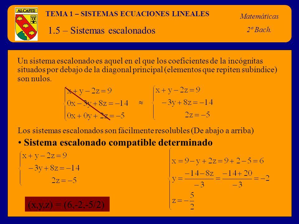 TEMA 1 – SISTEMAS ECUACIONES LINEALES Matemáticas 2º Bach. 1.5 – Sistemas escalonados Un sistema escalonado es aquel en el que los coeficientes de la