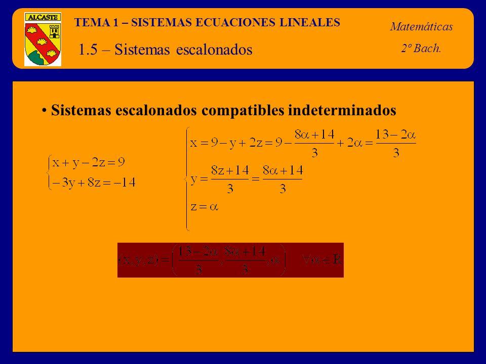 TEMA 1 – SISTEMAS ECUACIONES LINEALES Matemáticas 2º Bach. 1.5 – Sistemas escalonados Sistemas escalonados compatibles indeterminados