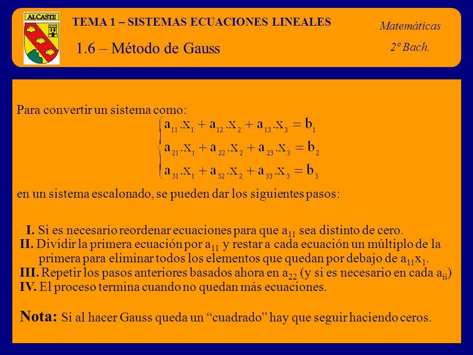TEMA 1 – SISTEMAS ECUACIONES LINEALES Matemáticas 2º Bach. 1.6 – Método de Gauss Para convertir un sistema como: en un sistema escalonado, se pueden d