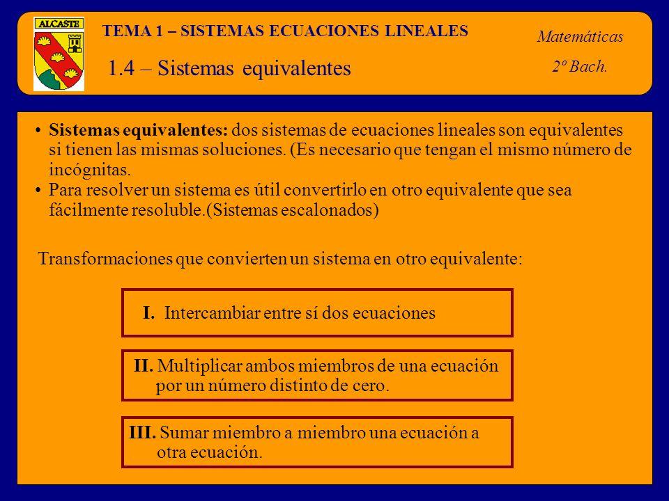 TEMA 1 – SISTEMAS ECUACIONES LINEALES Matemáticas 2º Bach. 1.4 – Sistemas equivalentes II. Multiplicar ambos miembros de una ecuación por un número di