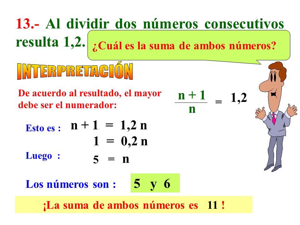 12.- Tres números pares consecutivos suman 72. ¿Cuál es el número impar consecutivo del número mayor ? Esto es : n + n + 2 + n + 4 = 72 3n = 66 Luego