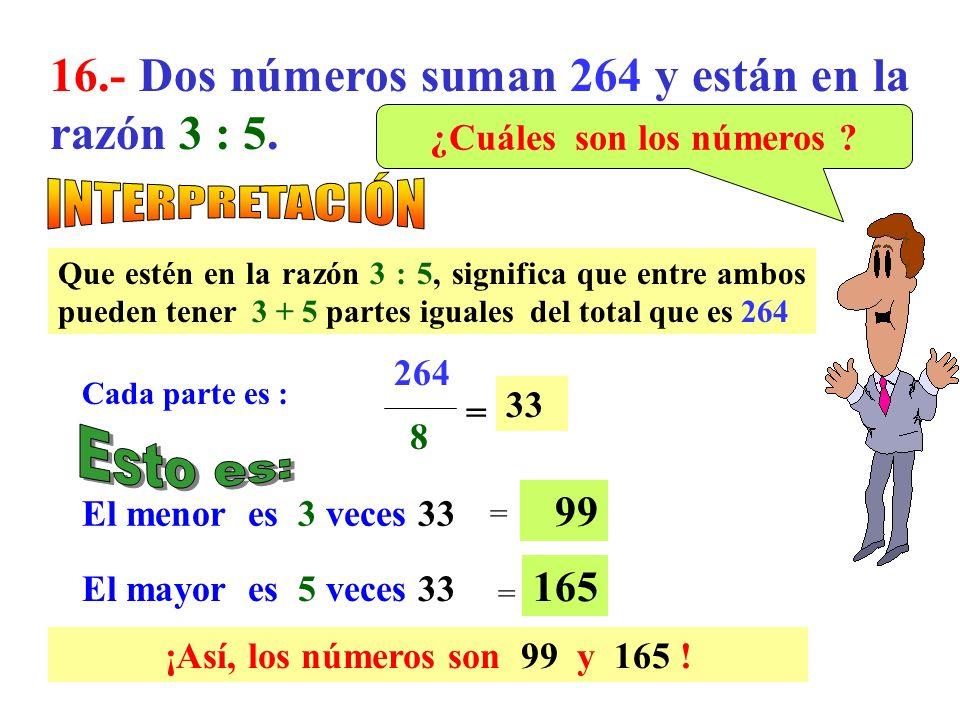 15.- Dos números suman 36 y su diferencia es 8. ¿Cuál es el mayor de ellos ? Esto es : Luego un número es 14 y el mayor es 14 + 8 Los números son : 14