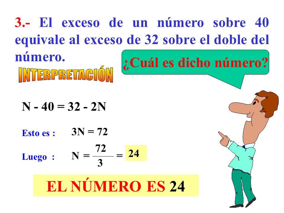 2.- Si el 30% de la mitad de los 2/3 de un número es 15. 30 100 1 2 2 3 N = 15 N= 150 EL NÚMERO ES 150 ¿Cuál es dicho número?