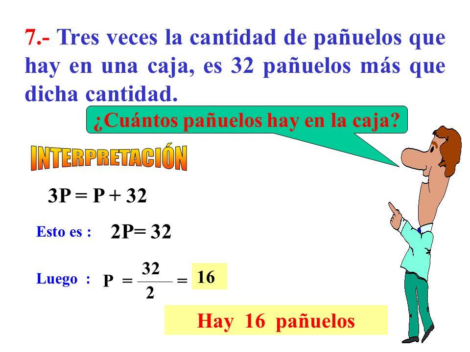 6.- ¿Cuál es el número cuyo cuádruplo, disminuido en 13, es igual al duplo del número,aumentado en 37? 4N - 13 = 2N + 37 Esto es : Luego : 2N = 50 N=