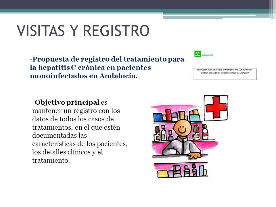 VISITAS Y REGISTRO -Propuesta de registro del tratamiento para la hepatitis C crónica en pacientes monoinfectados en Andalucía. -Objetivo principal es