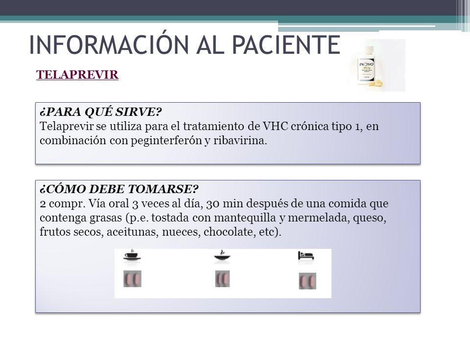 INFORMACIÓN AL PACIENTE TELAPREVIR ¿PARA QUÉ SIRVE? Telaprevir se utiliza para el tratamiento de VHC crónica tipo 1, en combinación con peginterferón