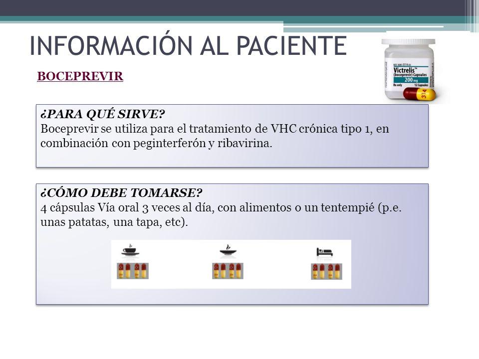 BOCEPREVIR ¿PARA QUÉ SIRVE? Boceprevir se utiliza para el tratamiento de VHC crónica tipo 1, en combinación con peginterferón y ribavirina. ¿PARA QUÉ