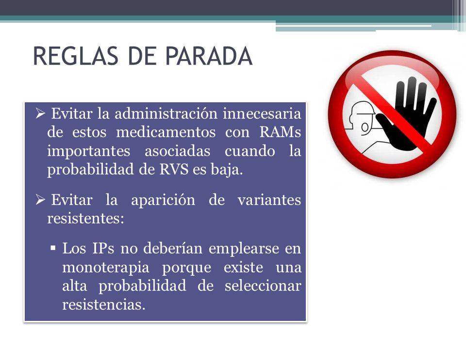 REGLAS DE PARADA Evitar la administración innecesaria de estos medicamentos con RAMs importantes asociadas cuando la probabilidad de RVS es baja. Evit
