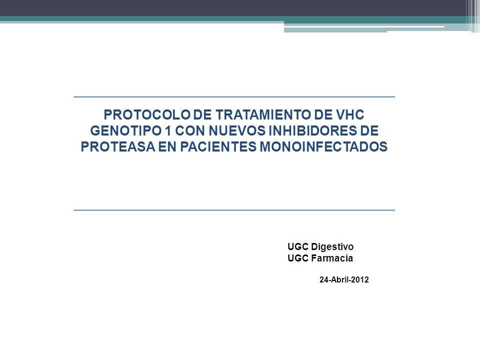 PROTOCOLO DE TRATAMIENTO DE VHC GENOTIPO 1 CON NUEVOS INHIBIDORES DE PROTEASA EN PACIENTES MONOINFECTADOS