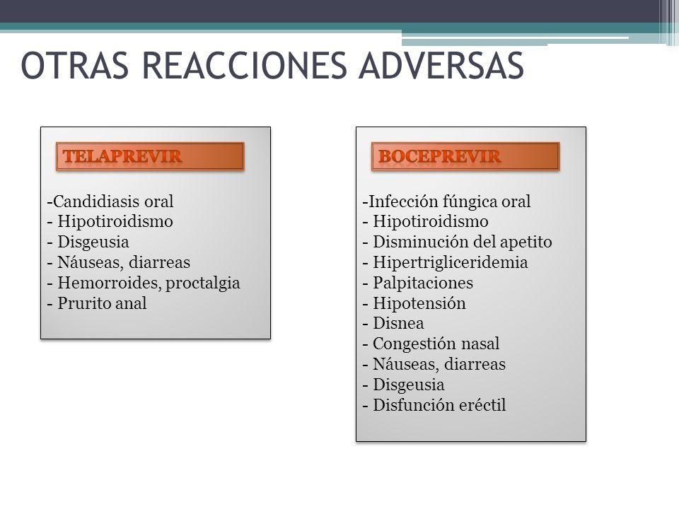 OTRAS REACCIONES ADVERSAS -Candidiasis oral - Hipotiroidismo - Disgeusia - Náuseas, diarreas - Hemorroides, proctalgia - Prurito anal -Candidiasis ora