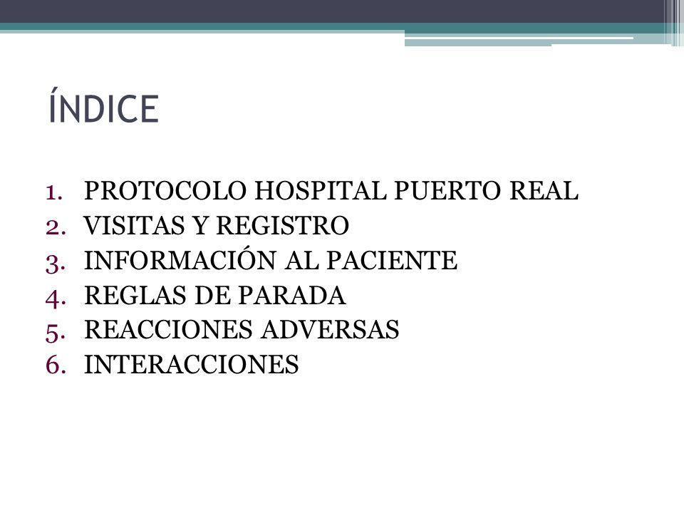 ÍNDICE 1.PROTOCOLO HOSPITAL PUERTO REAL 2.VISITAS Y REGISTRO 3.INFORMACIÓN AL PACIENTE 4.REGLAS DE PARADA 5.REACCIONES ADVERSAS 6.INTERACCIONES