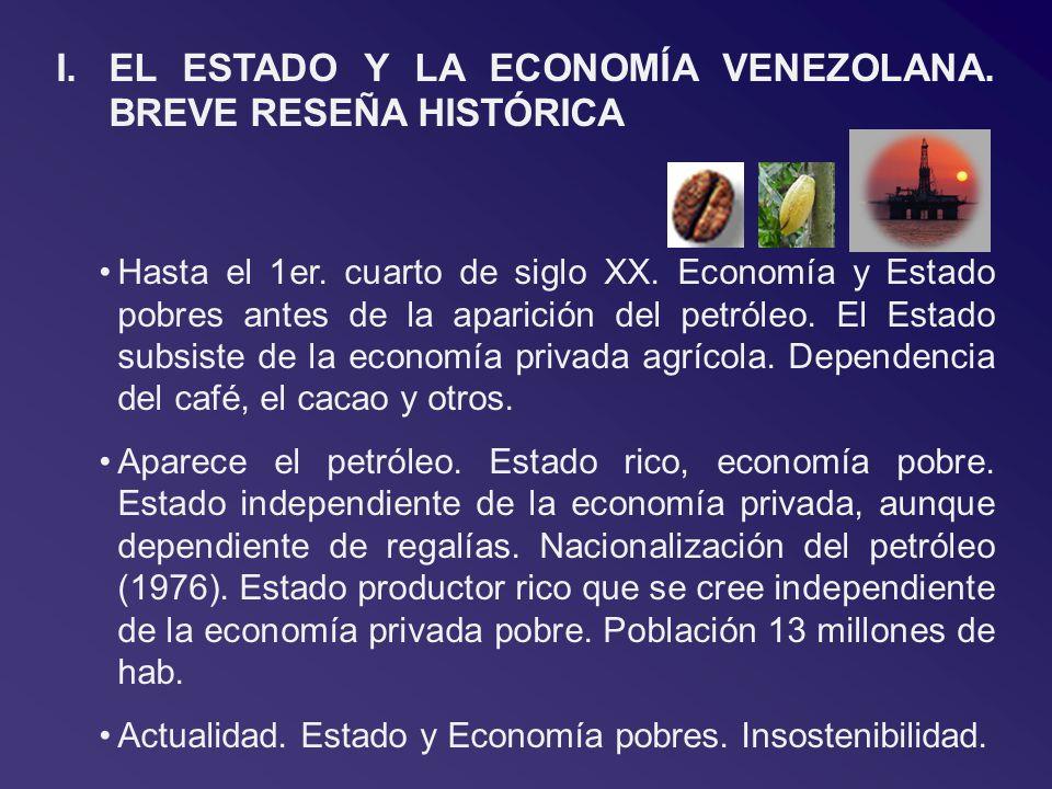 I.EL ESTADO Y LA ECONOMÍA VENEZOLANA. BREVE RESEÑA HISTÓRICA Hasta el 1er. cuarto de siglo XX. Economía y Estado pobres antes de la aparición del petr