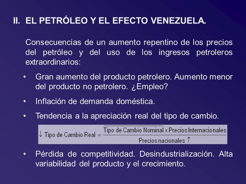 II.EL PETRÓLEO Y EL EFECTO VENEZUELA. Consecuencias de un aumento repentino de los precios del petróleo y del uso de los ingresos petroleros extraordi