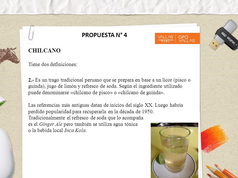 2.- Es un trago tradicional peruano que se prepara en base a un licor (pisco o guinda), jugo de limón y refresco de soda. Según el ingrediente utiliza